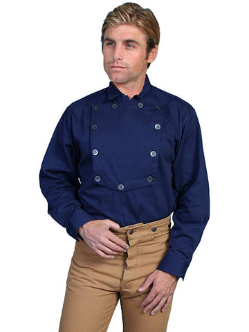 A Best Seller! John Wayne Style Wahmaker Style Bib Shirt -Navy - Made in the USA!