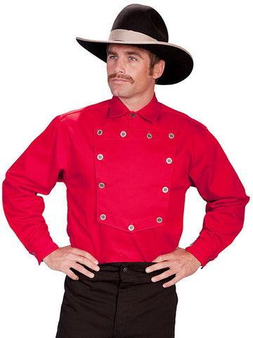 A Best Seller! John Wayne Style Wahmaker Style Bib Shirt -Red - Made in the USA!