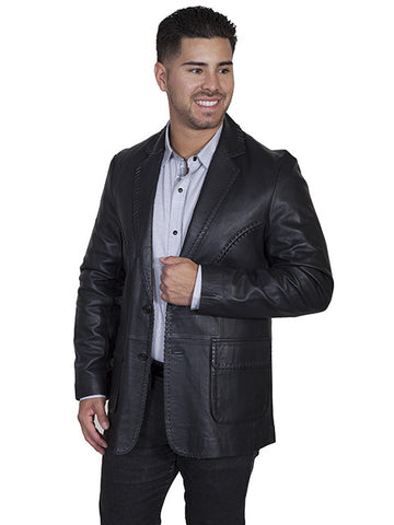 Justified Style Scully Leather Black Whip Stitch Blazer