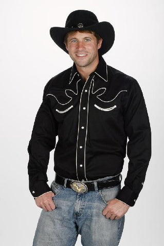 Western Retro Pipe Trim Shirt - With Pipe Trim- Four Colors -Matching Snap Pearl Buttons -890KWE