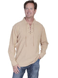 Scully Brand Old West Lace Front Shirt- Sand -CM8