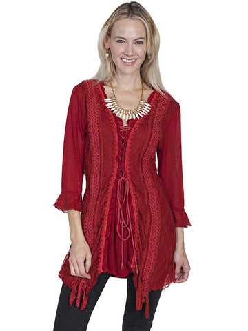 Lace-Up Front Top With Ruffle Edge - Red - HC98-RED