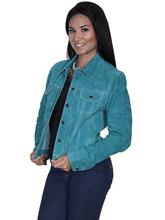 Scully Ladies Suede Jean Jacket -Turquoise