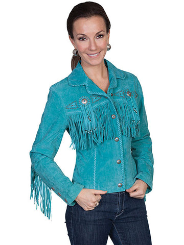 Scully Hand Made Hand Beaded Indian Fringed Coat -Turquoise  L152