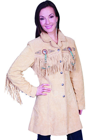Scully Stunning 3/4 Length Suede Fringed Coat - Chamois L615
