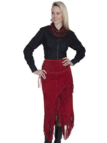 Scully Leather Suede Fringed Skirt - Red