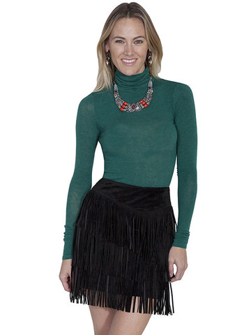 Scully Leather Medium Length Fringed Suede Skirt -Black