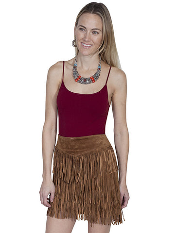 Scully Leather Short Fringed Three Layer Skirt - Cinnamon