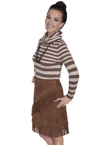 Scully Leather Medium Length Fringed Suede Skirt -Cinnamon