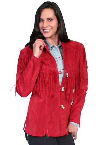 Scully Leather Stunning Hip Length Fringed  Jacket -Red L9