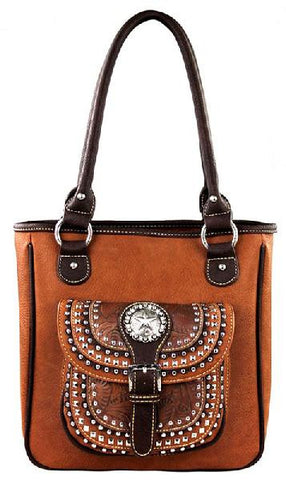 Concealed Carry Handbag-Brown-MW253G-8349-BR