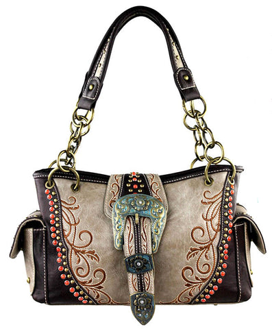 New - Concealed Carry Handbag w/Ringed Hardware & Buckle Accent -MW296G-8085-K