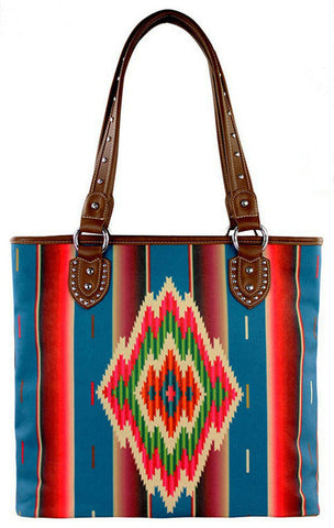 New - Special - Canvas Tote Bag w/Concealed Carry in Southwestern Print- MW310G-8281-TQ