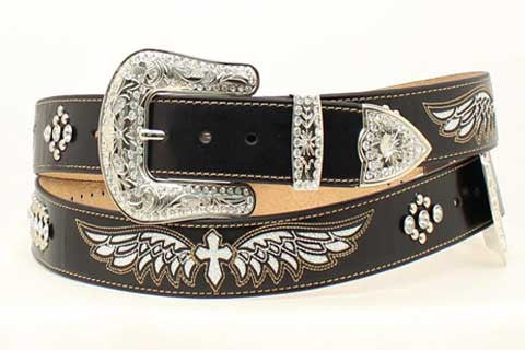 Nacona Leather Crossed And Wings Belt 1 1/2""