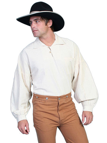 A Best Seller! Classic Old West Drop Shoulder Pullover Shirt From Scully- Natural Color