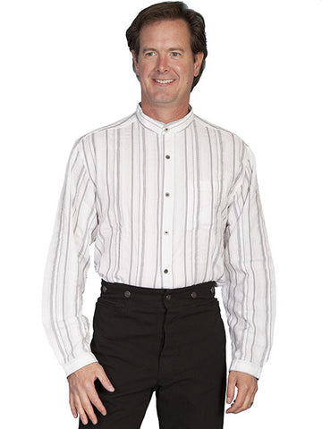Scully Old West Banded Collar Strip Shirt -RW025-WHT