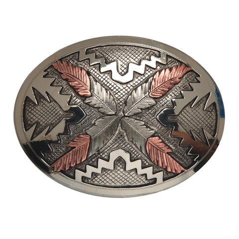 "And West ""Saguaro"" Vintage Oval with Navajo Feathers Buckle"