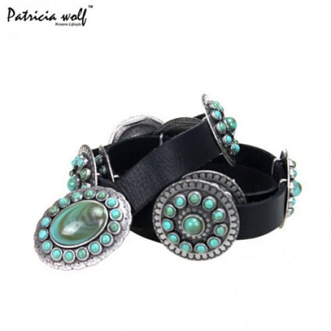 Patrica Wolf Western Designer Concho Belt - Turquoise Stone Belt Buckle PWB-B013