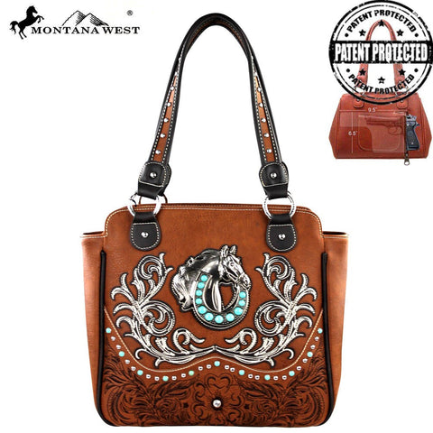 Montana West Concealed Handgun Handbag- Horse And Horseshoe