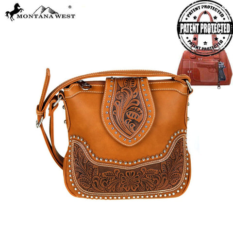 Montana West Tooled Concealed Carry Messenger Bag