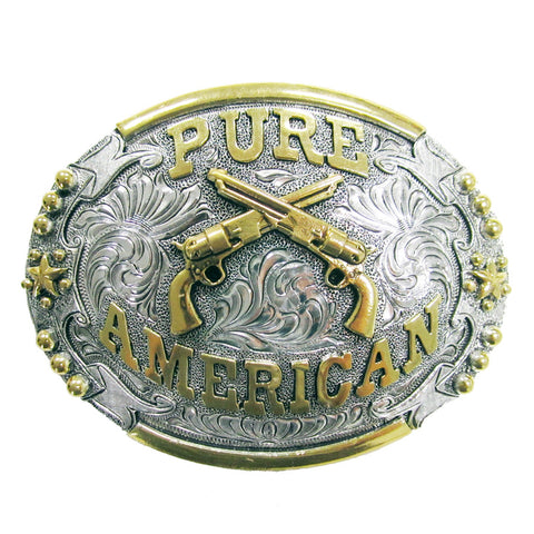 "And West Two-Tone ""Pure American"" Belt Buckle Two Tone- Gold And Silver Plated - Engraved Crossed Guns Belt Buckle"