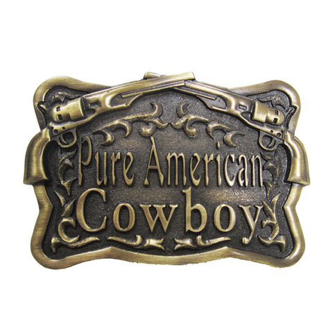 "Antique Brass ""Pure American Cowboy"" Crossed Guns Belt Buckle  (available in January)"