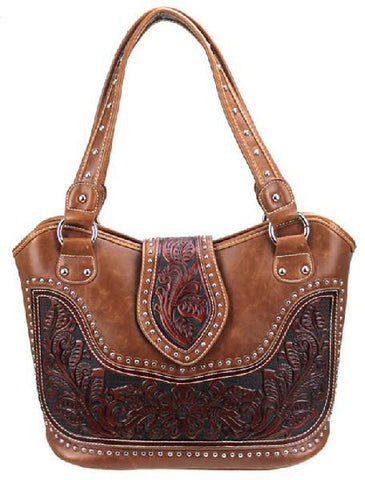 New - Concealed Carry Handbag, Brown -WRLG-8005-BR