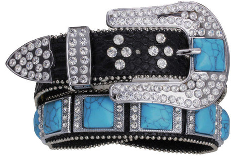 Western Designer Ladies Black Belt With Turquoise Squares-WEXM-6046