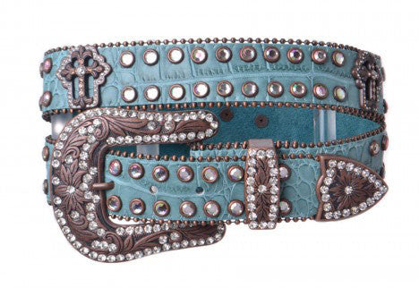 Turquoise Western Leather Belt With Crosses And  Rhinestones- WEXM-6055TQ