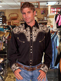 Scully Legends Embroidered Gun Fighter Western Shirt - Black On Red