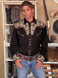 Scully Legends Embroidered Gun Fighter Western Shirt - Turquoise On Black