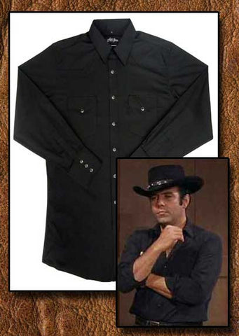 Adam Cartwright Solid Black Western Shirt And Old West Canvas Pants