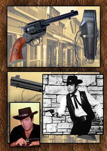Adam Cartwright Style Museum Quality Old West Frontier Black Finish Replica Revolver And Gun Holster/Rig