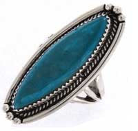 Sterling Silver  Turquoise Ladies Ring Navajo Pointer