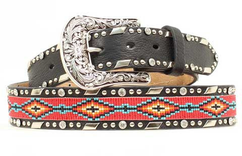 Stunning Ariat Black Leather Beaded Belt  1 1/2 Inch