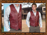 Scully Butter Soft Lambskin Black Cherry Or Antique Brown Western Vest