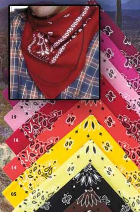 Cowboy Bandana Collection - 22 Inches X 22 Inches - Made In The USA- Package Of Six