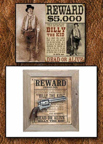 Billy The Kid Deluxe Old West Replica Revolver Barnwood Frame Set