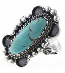 Best Seller! Twilight Turquoise Sterling Silver Ladies Ring -Navajo Made