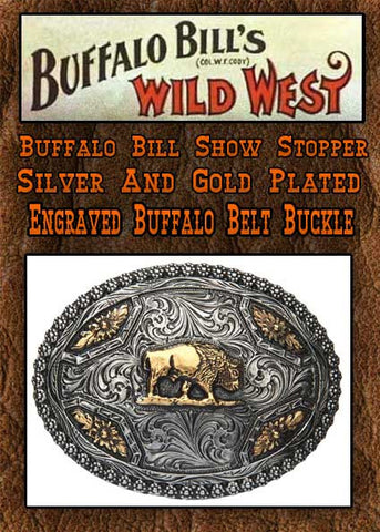 Buffalo Bill Show-Stopper Gold And Silver Plated Engraved Buffalo Belt Buckle