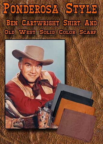 Ben Cartwright Ponderosa Style Shirt And Silk Cowboy Scarf