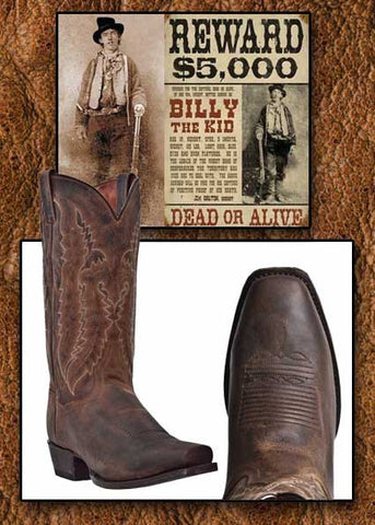 Billy Boots!  Retro  Style Square Toe Bay  Apache Distressed Leather Cowboy Boot