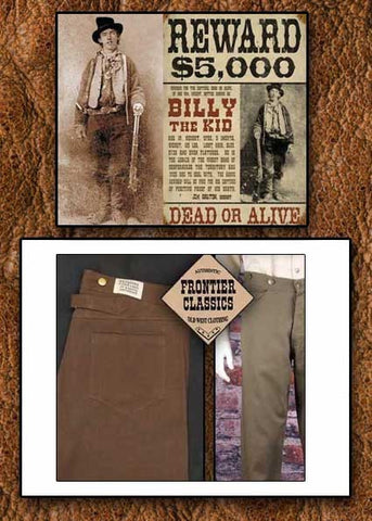 Billy The Kid Style Frontier Classics Old West Cowboy Pants Fits Like Jeans!