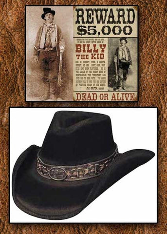 Billy The Kid Legendary Limited Edition Bullhide Monecarlo Cowboy Hat-Black