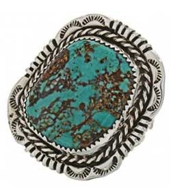 Genuine Turquoise Sterling Silver Ladies Ring Navajo Handcrafted