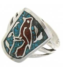 Cardinal Design Inlaid Coral  & Turquoise Ladies Sterling Silver Ring - Navajo Made