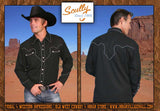 Legends Western Cut Scully Black Rope With White Trim Shirt - Black