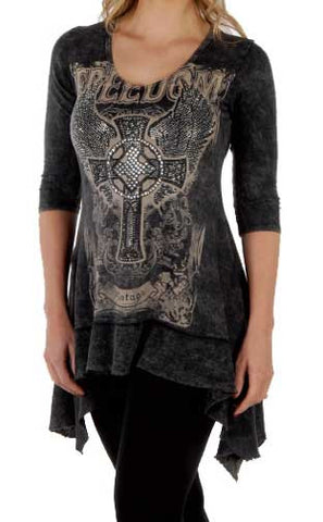 Freedom Vintage Cross And Wings Mineral Washed Shark Tail Top - Black