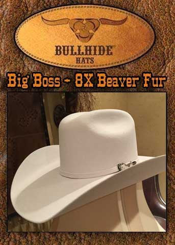 Gunsmoke Style Big Boss 8X Beaver Fur Blend Bullhide  Cowboy Hat - Silverbelly