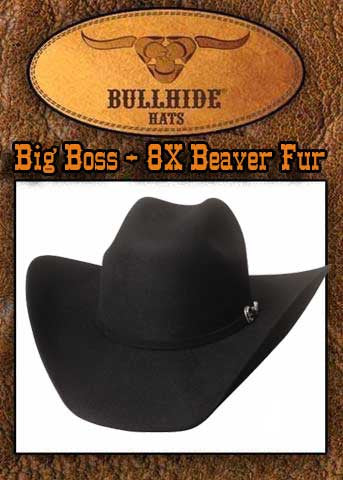 Big Boss 8X Beaver Fur Blend Bullhide Cowboy Hat - Black